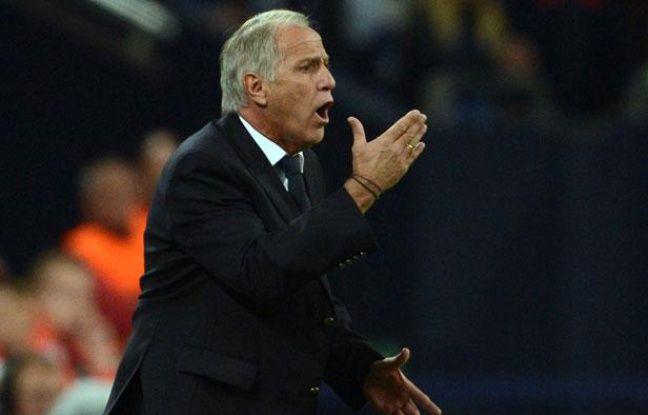 René Girard, l'entraîneur de Montpellier, le 3 octobre 2012, à Gelsenkirchen.