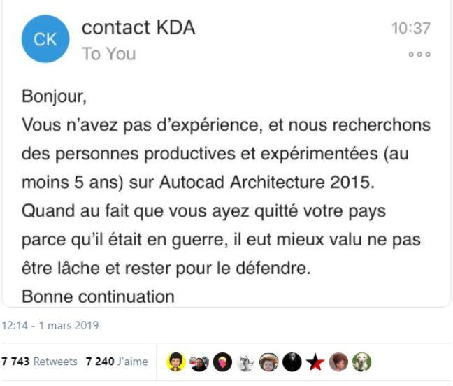 Le message envoyé par le cabinet d'architecture.