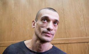 L'artiste russe Piotr Pavlenski lors de son procès à Moscou, le 18 mai 2016
