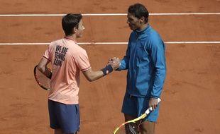 Rafa et Léo, sur le court Central de Roland-Garros.