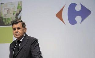 Le PDG de Carrefour, Georges Plassat, lors de la présentation des résultats du groupe le 31 juillet 2014 à Paris