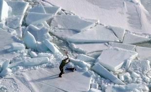 Un chasseur de phoques dans le golfe du St Laurent, Canada, le 25 mars 2009.