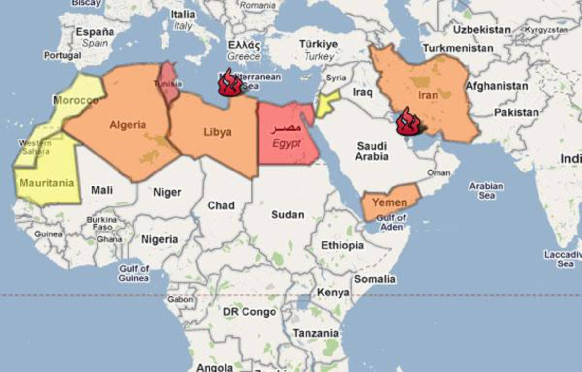 La carte de la contestation dans le monde arabo-musulman. – 20 MINUTES