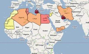 La carte de la contestation dans le monde arabo-musulman.