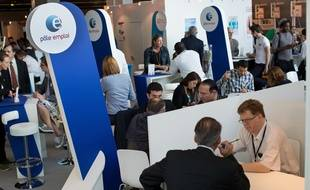 Pole Emploi stand. Micro-enterprise, visiting small businesses in 2014, takes place from September 30 to October 2. Paris, FRANCE-01/10/2014./MEIGNEUX_meigneuxB010/Credit:ROMUALD MEIGNEUX/SIPA/1410011819