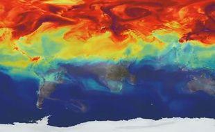 Capture d'écran d'une vidéo de la Nasa montrant les émanations de CO2 sur la planète en une année.