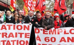 Une manifestation à Paris contre la réforme des retraites le 26 novembre 2013.