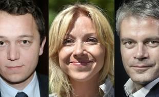 Les candidats officiels à la présidence des Républicains. De gauche à droite, Maël de Calan, Florence Portelli et Laurent Wauquiez