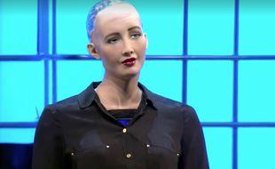 Sophia, dernière-née des robots d'Hanson Robotics, a fait sensation au Web Summit à Lisbonne.