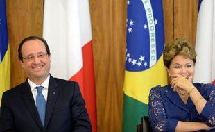 """Le président français François Hollande a affiché jeudi, au premier jour de sa visite d'Etat au Brésil son ambition de doubler """"les échanges commerciaux"""" franco-brésilien et sa volonté de réchauffer une relation politique un peu distendue."""