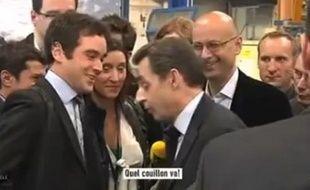 Nicolas Sarkozy a traité un journlaiste de LCI de «couillon», le jeudi 15 mars 2012.