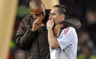 Franck Ribéry et Thierry Henry le 8 avril 2009 à Barcelone.