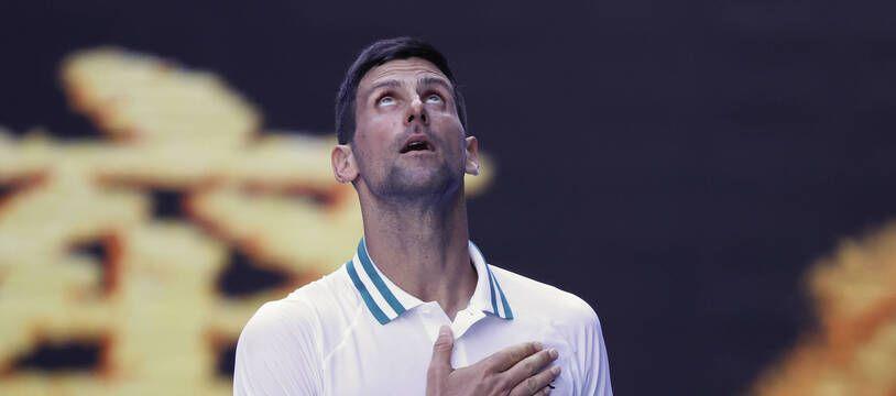 Novak Djokovic a eu du mal lors de son premier tour à l'Open d'Australie, le 10 février 2021.