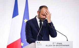Edouard Philippe lors de son intervention à Matignon, jeudi 28 mai.