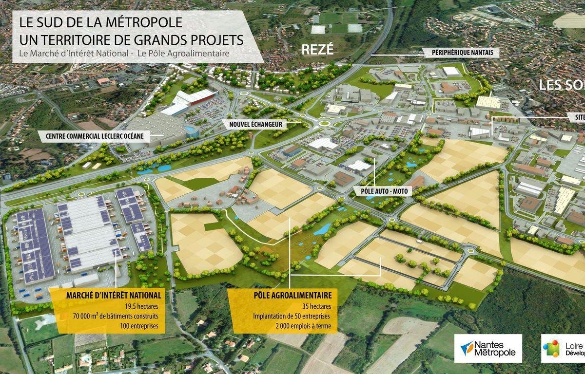 Vue aérienne du futur MIN, du pôle agroalimentaire et du parc d'activités autour de la porte de Rezé. – Nantes métropole