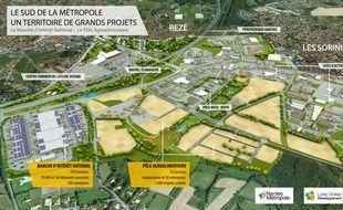 Vue aérienne du futur MIN, du pôle agroalimentaire et du parc d'activités autour de la porte de Rezé.
