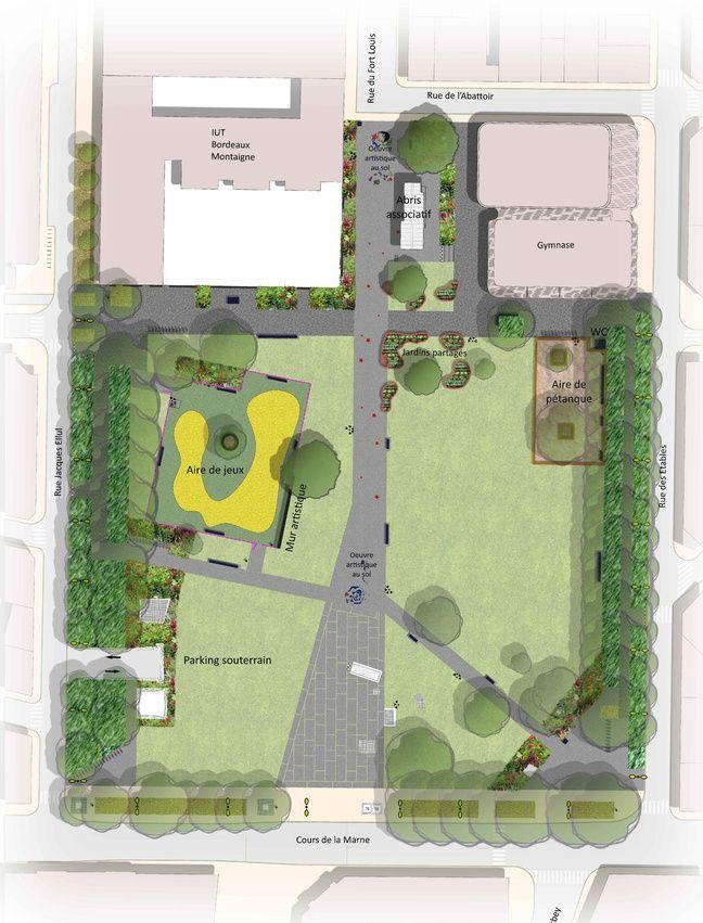 La carte expliquant le réaménagement de la place André Meunier.