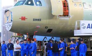 Des salariés d'Airbus sur le site de Saint-Martin-du-Touch, près de Toulouse. Illustration.