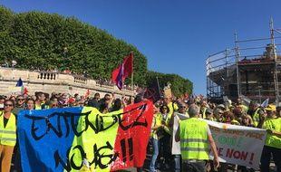 Les gilets jaunes étaient en tête de cortège, ce mercredi à Montpellier.