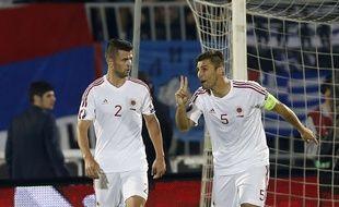 Le nouveau défenseur central du FC Nantes Lorik Cana (ici à droite, sous le maillot de l'Albanie).