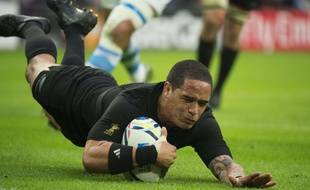 Aaron Smith lors d'un match des All Blacks contre l'Argentine pendant la Coupe du monde de Rugby, à Londres le 20 septembre 2015.