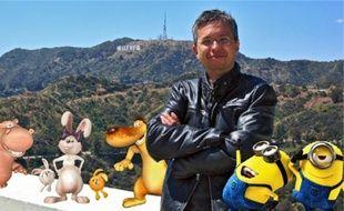 Pierre Coffin à Hollywood avec Pat, Lili et les lapinous, Stan et les Minions.