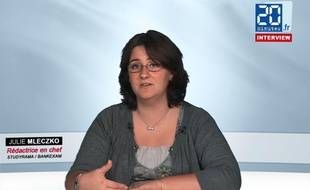 Julie Mleczko, rédactrice en chef de Studyrama, dans les locaux de 20 Minutes le 14 juin 2012.
