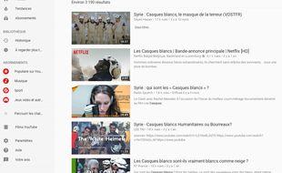 Capture d'écrans des résultats les plus populaires sur YouTube liés à la recherche