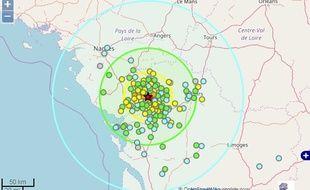 Carte d'intensité du séisme du 12 février 2018.