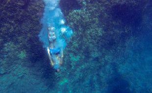Lionel Franc vient de plonger de 36 mètres de haut, près de la calanque d'En Vau.