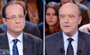 Le candidat socialiste à la présidentielle François Hollande et le ministre des Affaires étrangères Alain Juppé se sont vivement opposés jeudi soir sur le contenu du nouveau traité de la zone euro, mais tous deux en ont donné une définition tronquée, voire fausse.