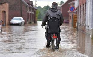 Dans le Hainaut, comme ici dans la commune de Beloeil, plusieurs cours d'eau ont franchi la phase d'alerte de crue, le 7 juin 2016