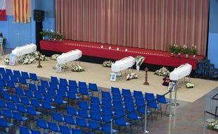 Les quatre cercueils des collégiens tués dans l'accident de Millas, qui seront inhumés jeudi 21 décembre 2017.