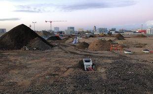 Le chantier de terrassement du futur CHU, sur l'île de Nantes, où a été trouvée la bombe.