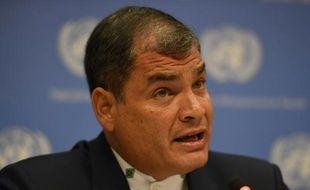 Le président équatorien Rafael Correa, le 12 avril 2016 à New York