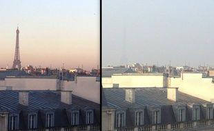 La tour Eiffel, vue du boulevard Malsherbes à Paris, avant et pendant le pic de pollution de mars 2014