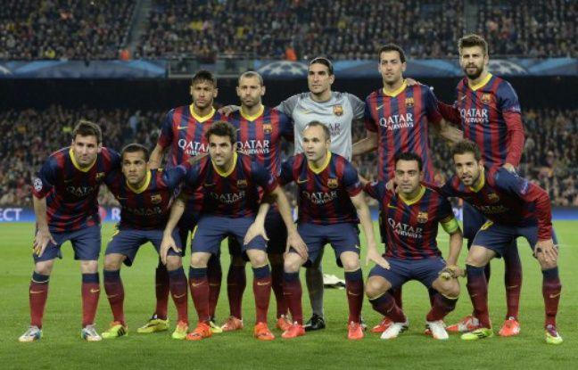 L'équipe du FC Barcelone avant un quart de finale aller de Ligue des champions contre l'Athletico Madrid, le 1er avril 2014, au Camp Nou.