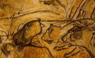 La grande fresque des lions de la Caverne Pont-d'Arc