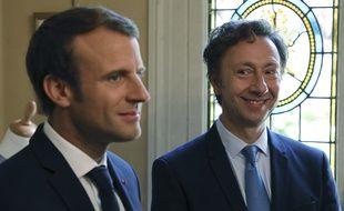 Emmanuel Macron et Stéphane Bern visitent le château de Monte-Cristo (Yvelines) lors des Journées européennes du Patrimoine, le 16 septembre 2017.