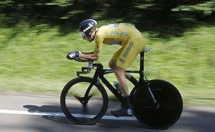 Le Britannique Bradley Wiggins, lors d'un contre-la-montre sur le Tour de France, le 9 juillet 2012.
