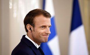 Emmanuel Macron lors d'une conférence de presse en Finlande, le 30 août 2018.