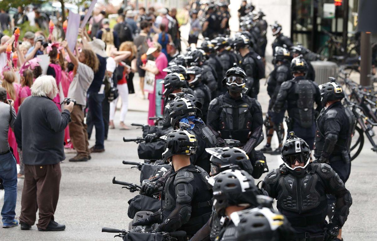 Au total, 5.000 membres des forces de l'ordre ont été déployés pour la convention républicaine qui se tient à Cleveland du 18 au 21 juillet 2016. – A.BRANDON/AP/SIPA