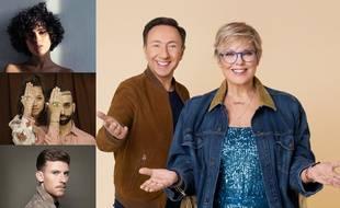 Stéphane Bern et Laurence Boccolini, animateurs de Eurovision France, c'est vous qui décidez! A gauche, de haut en bas : Barbara Pravi, Andriamad et Casanova.
