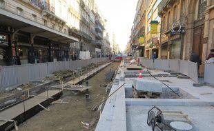 Les travaux de la rue Bayard, à Toulouse, le 1er décembre 2016.