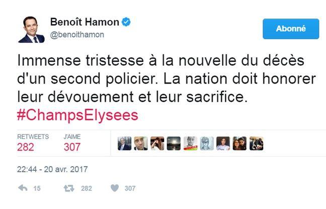 Capture écran message Twitter de Benoît Hamon le 20 avril 2017