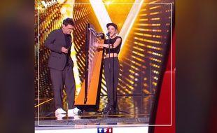 Marc Lavoine et Gustine, sur le plateau de The Voice.