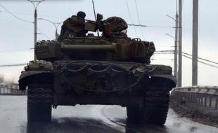 Un tank à Donetsk (Ukraine) le 31 janvier 2015