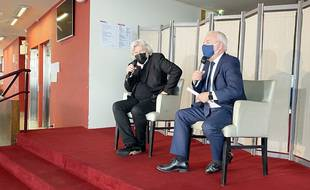 Daniel Benoin et Jean Leonetti, le 5 janvier 2021 au théâtre Anthéa d'Antibes