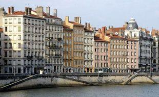 Vue de la Saône, dans le centre de Lyon, en 2008.