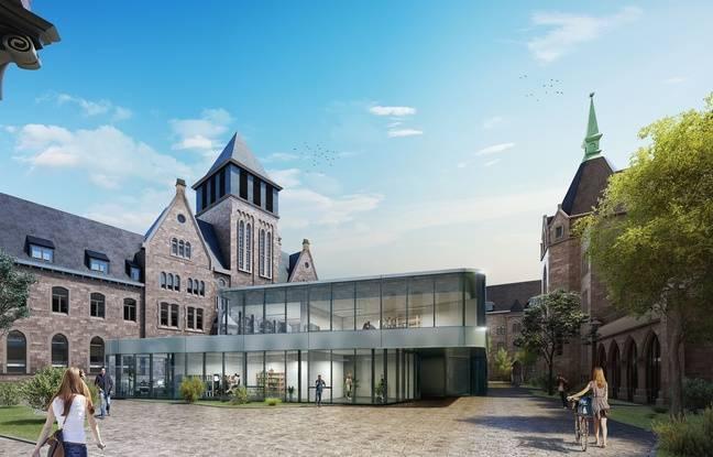 Projection avec la nouvelle structure en verre au centre de la cour.